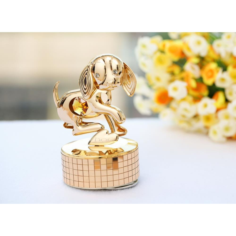 """Matashi 24k Gold Plated Dog Music Box plays """"Memory""""   Gold Table Top Ornament w/Gold Crystal   Home, Bedroom, Living Room Décor   Adorable Gift for Girls, Women, Ladies"""