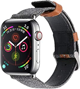 DALIBAI Compatible with iWatch Band 44mm 42mm, Genuine Leather Replacement Band Strap Compatible with Apple Watch Series 5 4 3 2 1 38mm 40mm 42mm 44mm (Color : Gray, Size : 38mm)