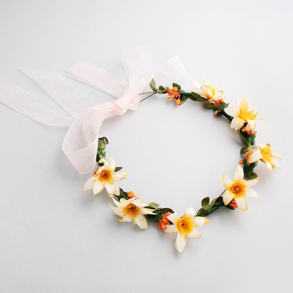 Bridal garland, seaside beach wind, bridesmaid head ring, children's wreath, beach wedding headwear accessories (yellow) by Mi an yi nuo (Image #3)