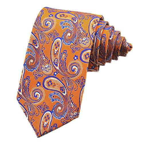 PenSee Mens Silk Tie Paisley Formal Necktie-Various Colors (Orange & (Orange Paisley Tie)