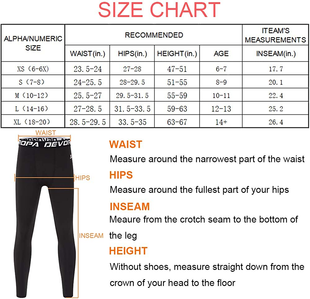 Devoropa Boys Leggings Quick Dry Youth Compression Pants Sports Tights Basketball Base Layer Gray XL