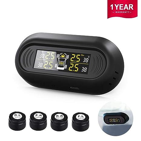 Favoto Kit de Monitor de Presión Neumáticos TPMS Digital Detector de Ruedas Sistema de Vigilancia Alarma
