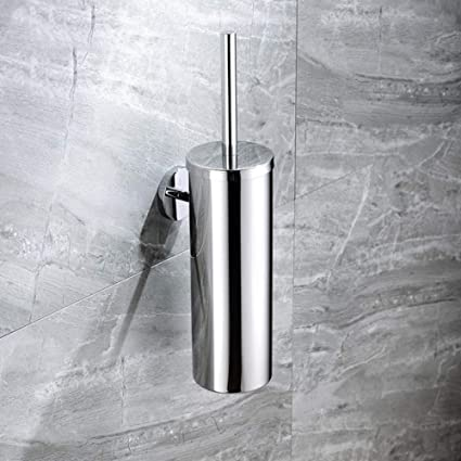 Wall-Mounted Toilet Brush Holder Set Bathroom Hanging Stainless Steel Cleaning A