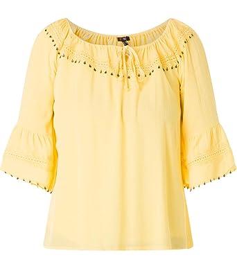 0608a1f42ad1 X-Two Yesta Oversize Carmen-Bluse mit 3 4 Trompetenärmel Große Größen Gelb  Damen  Amazon.de  Bekleidung