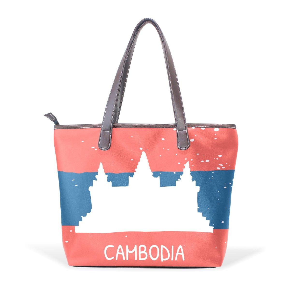 Distressed Cambodia Flag Womens Fashion Large Shoulder Bag Handbag Tote Purse for Lady