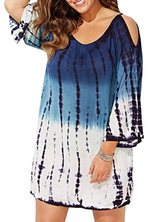 534e5615276e0 Karlywindow Womens Plus Size Cold Shoulder Cover Up Bathing Suit Beachwear  Swimwear Cover-ups Gradient at Amazon Women's Clothing store: