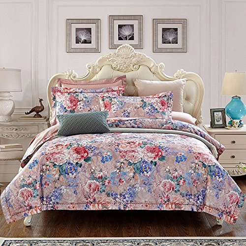 - Super Soft 4-Piece Bedding Set,Wrinkle, Fade & Stain Resistant European and American Jacquard Cotton Four-Piece Sets, Cotton Bedding Set, H, Queen