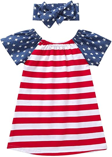 4th July Toddler Baby Kids Girl Star Stripe Casual Dress Party Princess Dress US