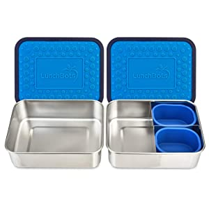 LunchBots Lite Bento Box Lunch Bundle – Includes Two Bento Boxes - One Section and Three Section Stainless Steel Containers and Silicone Cups - Eco-Friendly, Dishwasher Safe, BPA-Free - Ocean