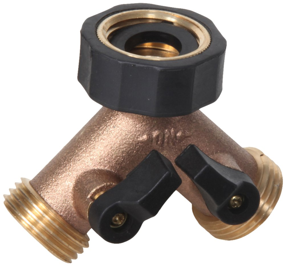 Midwest Control GHC2 3/4'' Ght Heavy-Duty Brass Garden Hose Splitter with 2-Way Connector & Individual Shutoffs,