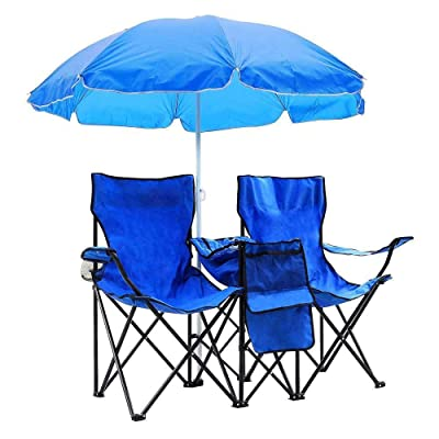 Acazon Folding Picnic Double Chair with Removable Umbrella Table Cooler, Portable Outdoor Reclining Camp Chairs for Beach, Camping, Picnic(US Stock) : Garden & Outdoor