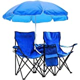 Portable Outdoor 2-Seat Folding Chair with Removable Sun Umbrella Blue[US Stock]