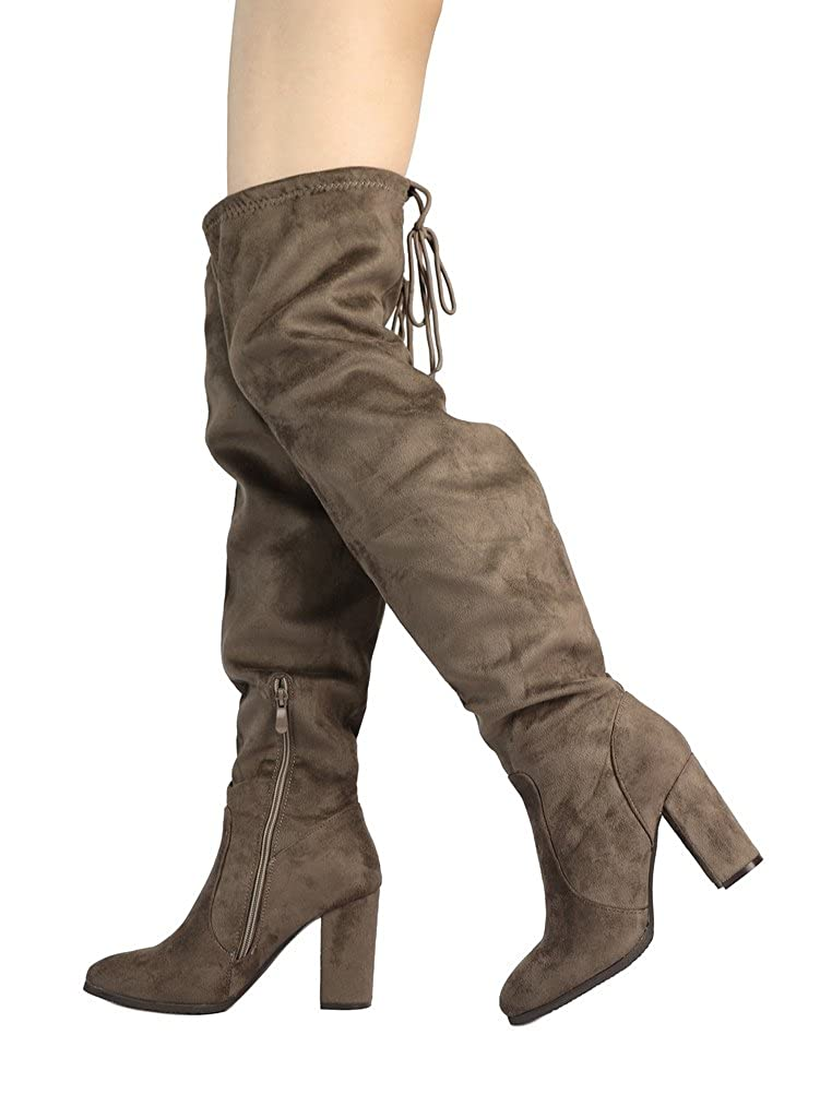 b376cfbf2aea6 DREAM PAIRS Women's Thigh High Fashion Over The Knee Block Heel Boots