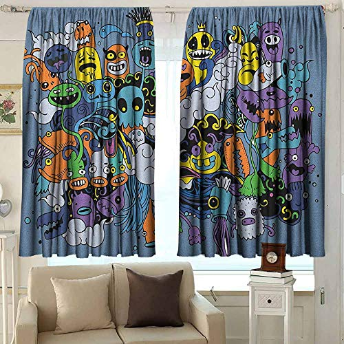(AFGG Balcony Curtains Indie Group of Funky Monsters Society Different Expressions Abstract Groovy Doodle Style Room Darkening Thermal 72 W x 45 L Inches Multicolor)