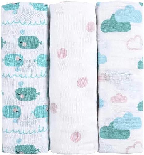 Muselinas para bebés de emma & noah, paquete de 3, 100% algodón, 80x80 cm, paños de muselina suaves para bebé,ideal como pañales de tela, paños de muletón, mantas de lactancia, doudou: Amazon.es:
