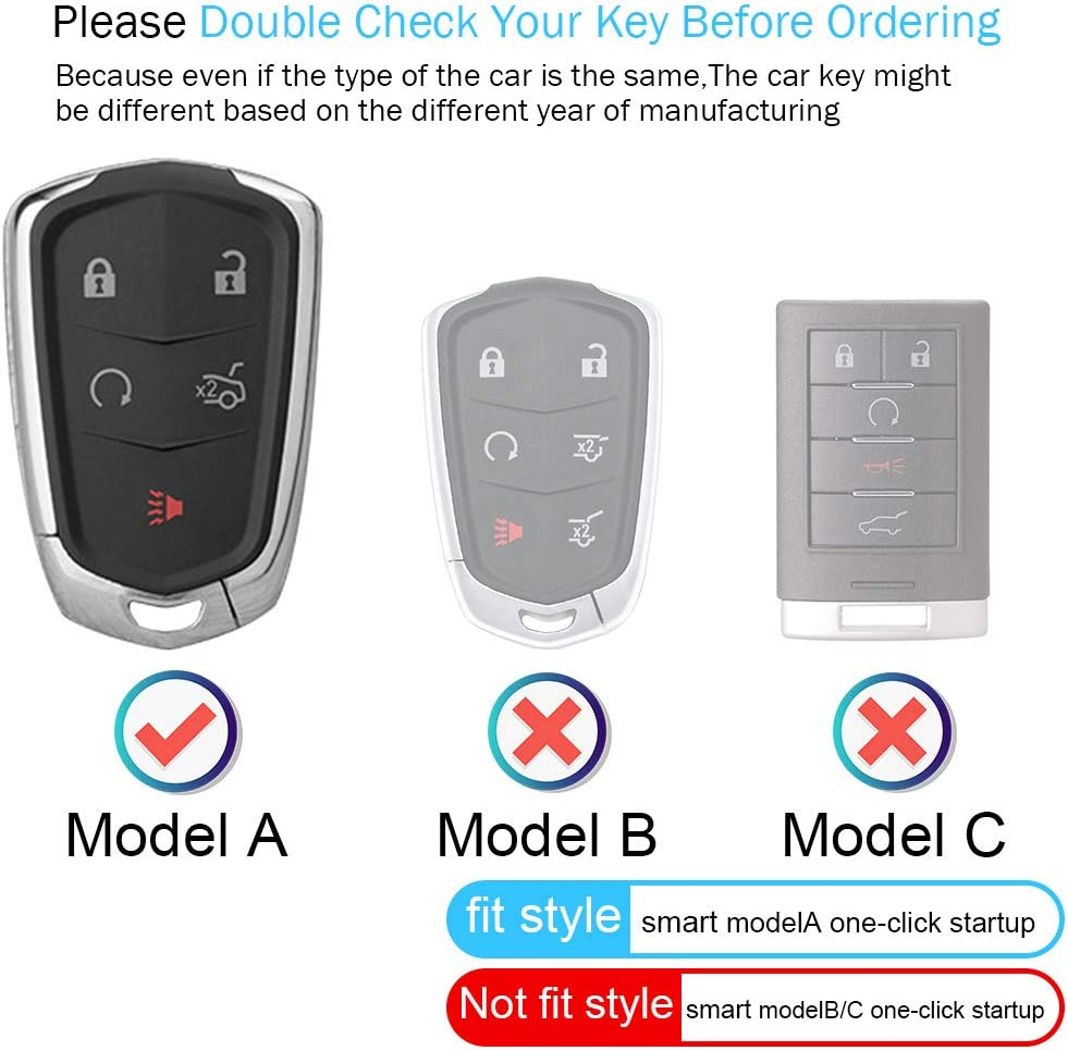 Genuine Leather for Cadillac Key fob Cover 2015-2018 Cadillac Escalade Remote for Cadillac Escalade Key fob case Holder only for 6 Buttons car key case,Accessories