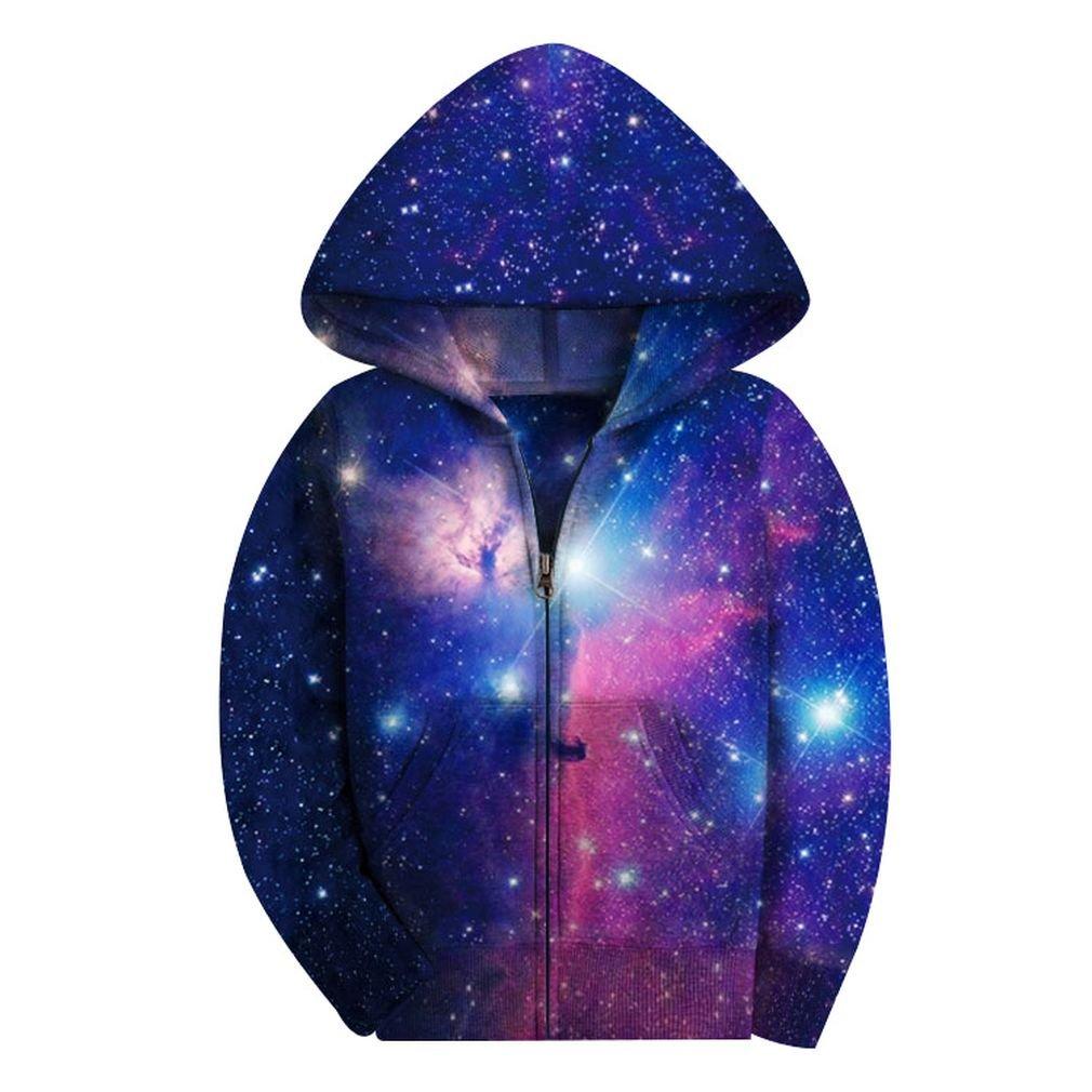 SAYM Big Girls' Youth Galaxy Teen Fleece Full Zip Jackets Pullover Hoodies NO1 M