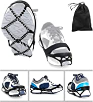 Ibely Ice Cleats, Traction Cleats Grippers with magic tape Straps and a Storage Bag Non-slip Over Shoe/Boot Rubber Spikes Crampons Anti Slip Walk Traction Cleats for Hiking Walking on Snow and Ice
