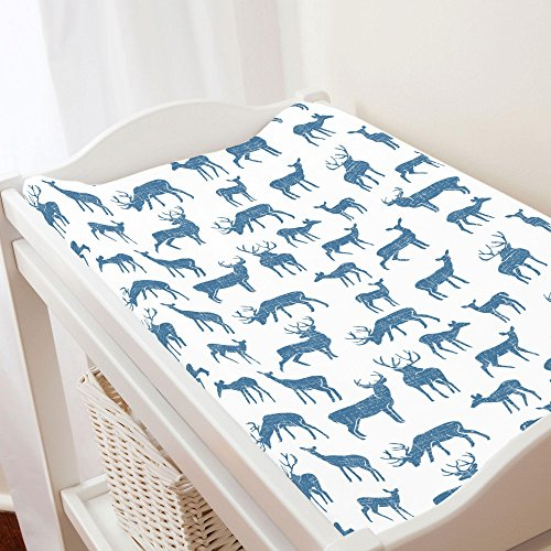 - Carousel Designs Denim Deer Changing Pad Cover - Organic 100% Cotton Change Pad Cover - Made in The USA