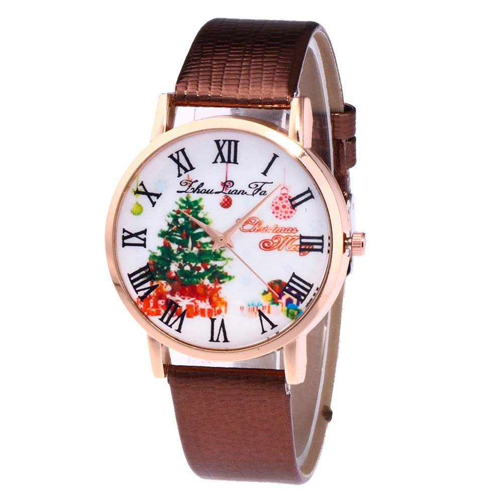 YaptheS Christmas Tree Causual Simple Fashion Women's Quartz Watch with Rhinestone Gift Set Crystal Accented Ceramic Metal Brown Christmas Style
