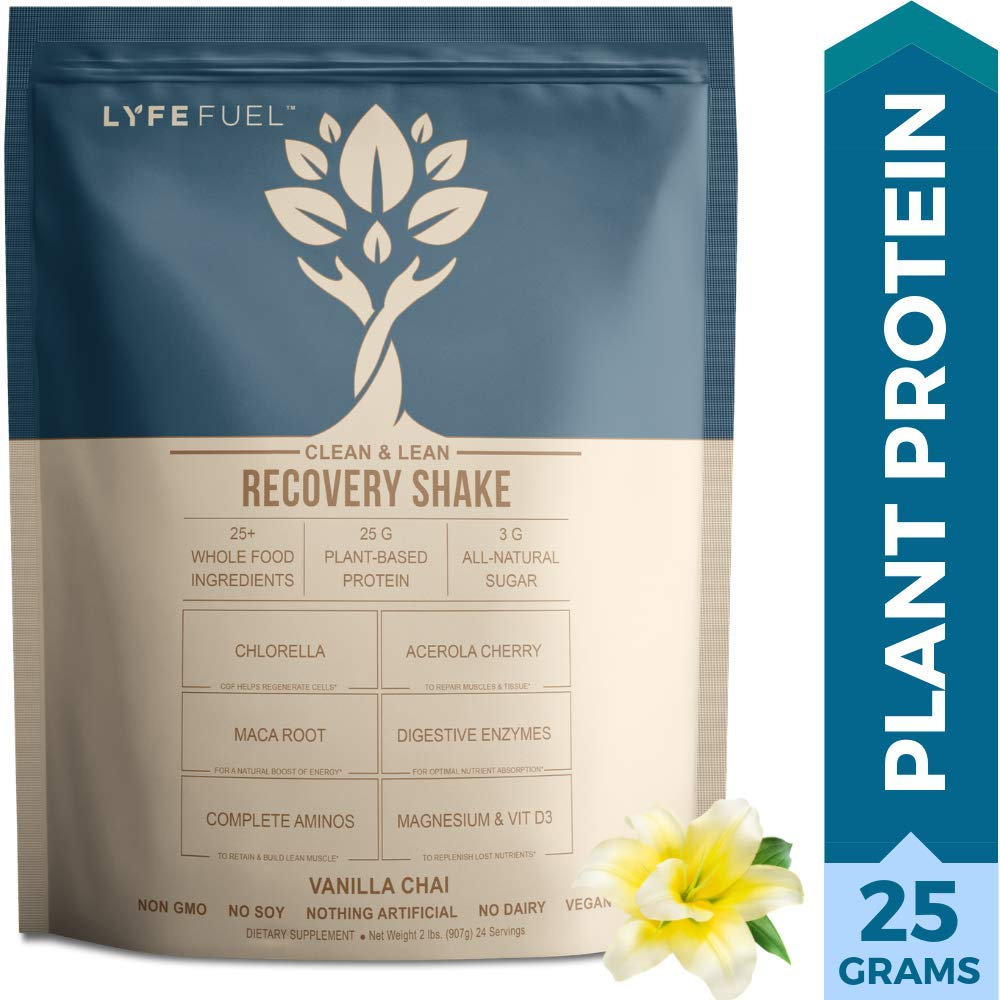 Plant Based Vegan Protein Powder Workout Recovery Drink by LYFE Fuel Low Carb Superfood with BCAAs Vital Greens, Maca, Acai, Spirulina, Amla, Bitter Melon - Vanilla Chai (2 lbs)