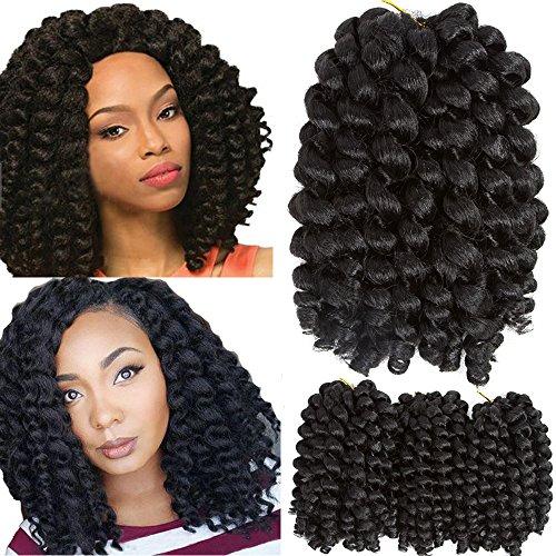 Goddess Wand - VRHOT 3Packs 8'' Wand Curl Crochet Hair Jamaican Bounce Braids Synthetic Hair Extensions Ombre Jumpy Wand Curl Crochet Braiding Hair Havana Mambo Twist 1B 20 Roods/pack (8'' (3 Packs), 1B)