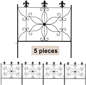 MIXXIDEA Metal Garden Fence Border 24.2 in x 10ft Decorative Garden Fencing 5 Pieces Rustproof Fencing for Garden Border, Durable Flower Bed Fencing, Wrought Iron Fence for Garden Outdoor, Patio