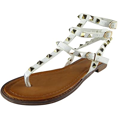 4c7ed2eed Loud Look Womens Ladies Studded Strappy Toe-Post Shoes Summer Gladiator  Sandals Flats Size 3-8  Amazon.co.uk  Shoes   Bags