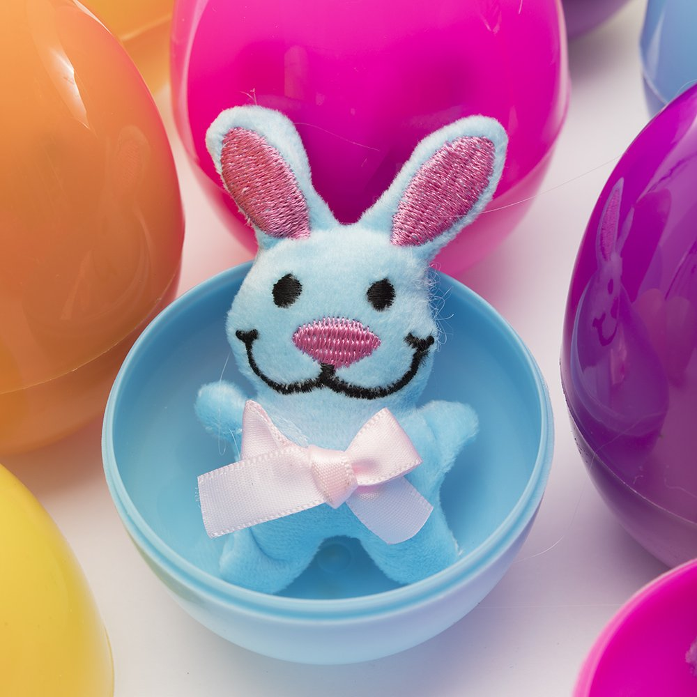 Cool And Fun Surprise Eggs Assorted Colorful Easter Bunny Eggs toys Giveaways By Kidsco Kayco USA Rewards Great Party Bag Stuffer 12 pack Easter Eggs Filled With Plush Easter Bunny