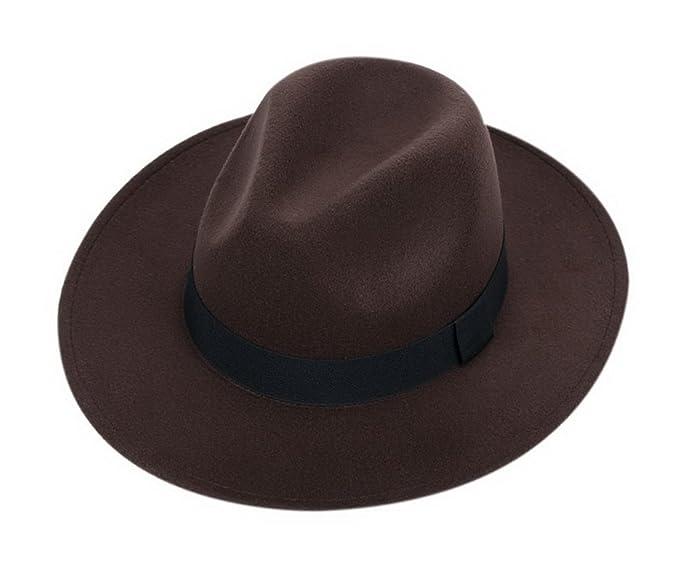 Amazon.com  Gentle Meow Wool Floppy Hat Felt with Wide Brim Retro Jazz  Bowler Hat for Unisex dedf26f48b0
