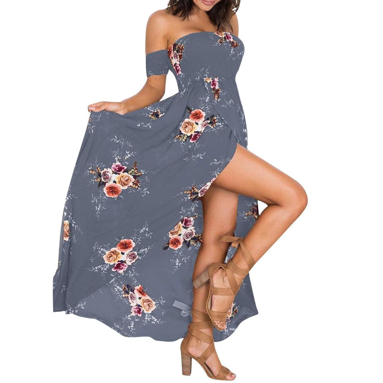 BBring Damen Kleid Elegantes Sommerkleider Blumen Maxi Kleid Off ...