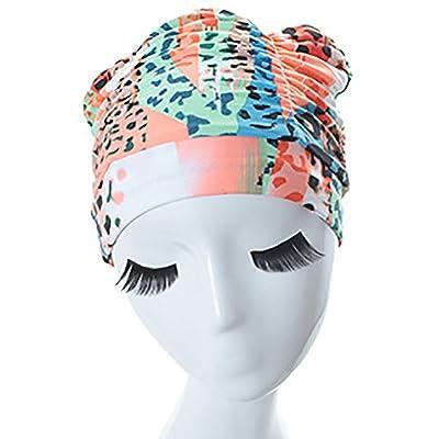 Anna Bonnet de bain Chapeau de bain plissé imperméable de chapeau de natation imprimant le chapeau en caoutchouc d'étiquette de cheveux courts adultes (Couleur : Style-2)