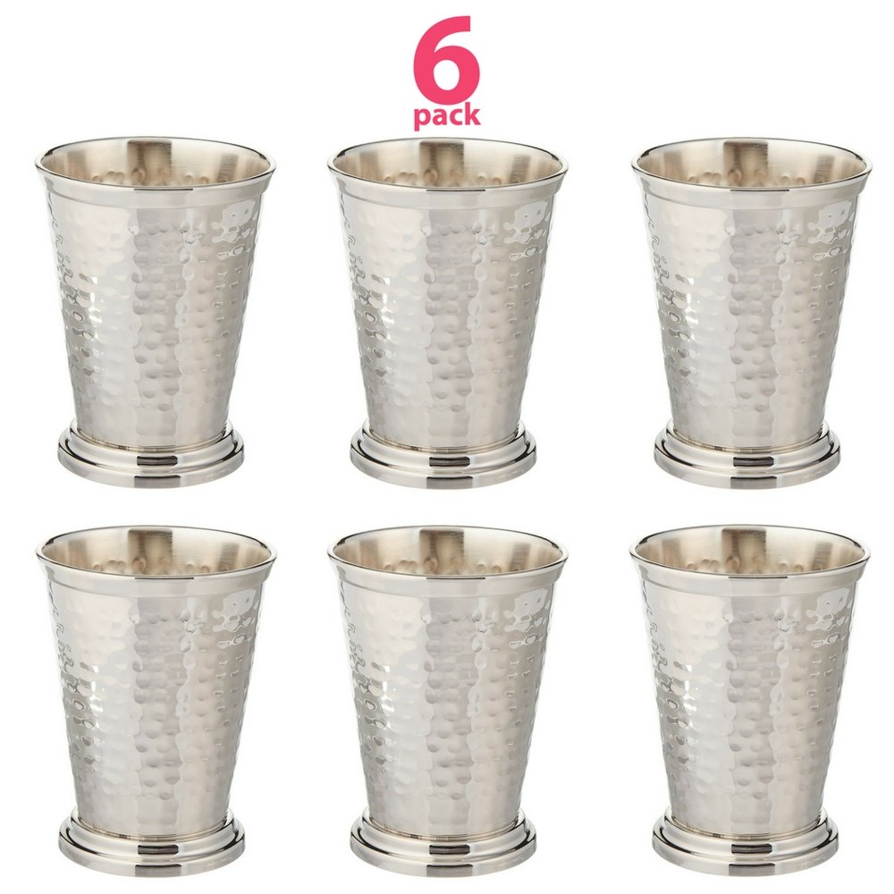 Set of 6 Hammered Mint Julep Cup Kentucky Derby - Nickel Plated - 12 oz by Alchemade (Image #1)