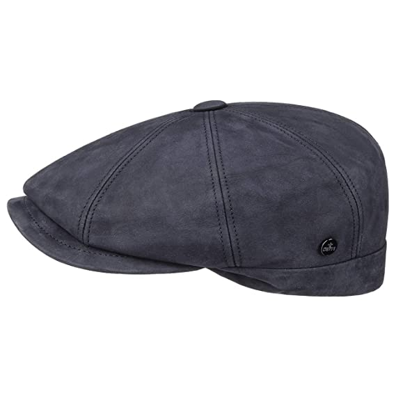 e9ebcd086 Lierys Nappa Wax Leather Flat Cap by Men | Made in Italy Driver´s Ivy hat  Winter with Peak, Lining Autumn-Winter