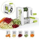 Sedhoom Tagliaverdure/Affettaverdure a spirale manuale con 5 lame, spiralizzatore/Affettatrice verdure da cucina.Tagliare/affettare/ spaghettizare per gli spaghetti di Verdure(zucchine,cetriolo)