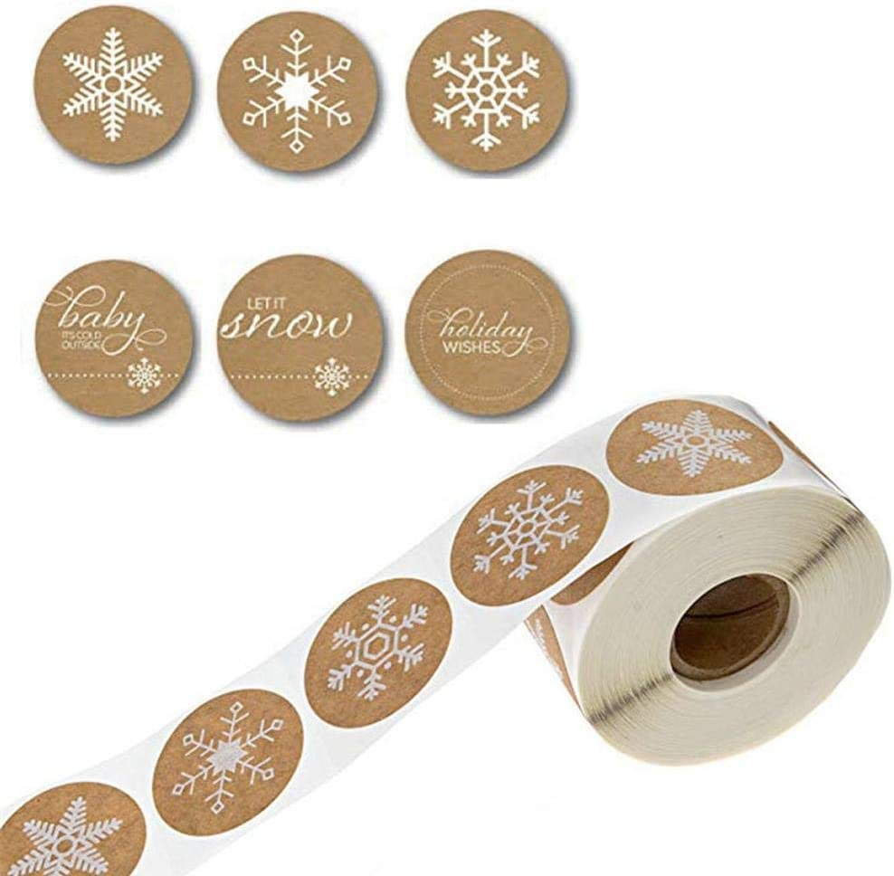 500 Pieces Snowflake Stickers Kraft Snowflake Christmas Stickers Round Snowflakes Label Decals For Envelopes Bags Seals