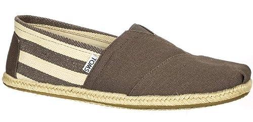 Toms Classic University Gris Blanco Stripes Hombres Alpargatas Slipons Zapatos: Amazon.es: Zapatos y complementos