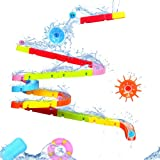 Fajiabao Bath Toys Slide Splash Water Ball Track Stick to Wall Bathtub for Toddlers DIY Waterfall Pipe and Tubes Tub…