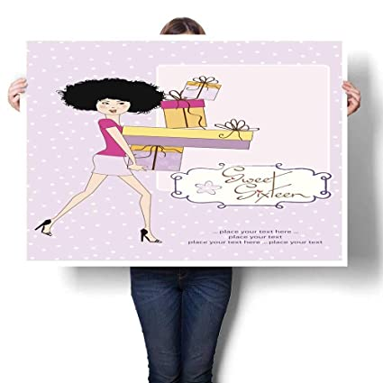 Canvas Print Wall Art Birthday Card Pretty Young Lady Decorative Fine Poster K