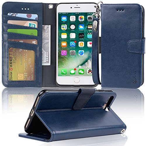 Leather Mobile Phone Covers (iphone 7 plus case, iPhone 8 plus case, Arae PU leather wallet Case with Kickstand and Flip Cover for iPhone 7 plus (2016) / iPhone 8 plus (2017) - navyblue)