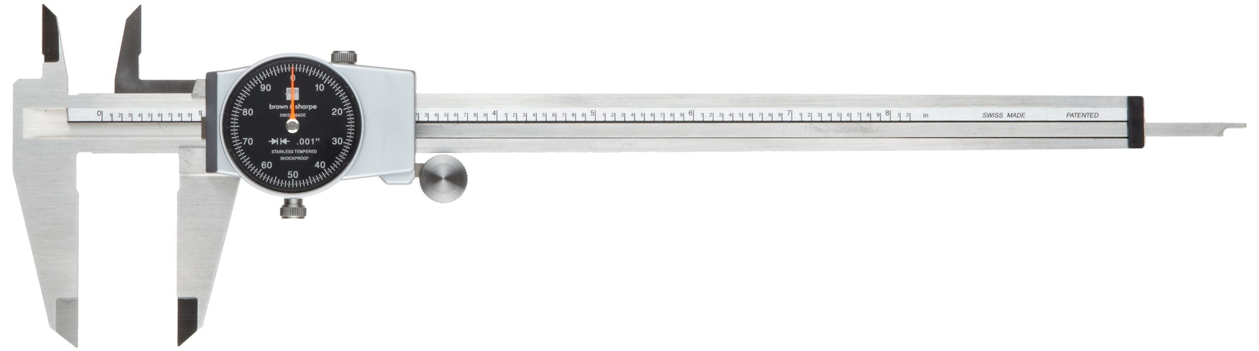 Brown & Sharpe 599-579-8-5-1 Dial Caliper, Stainless Steel, Black Face, 0-8'' Range, +/-0.001'' Accuracy, 0.001'' Resolution, Meets DIN 862 Specifications