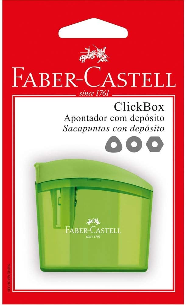 Apontador com Depósito, Faber-Castell, SM/CLICKBOX, Clickbox, Cores Sortidas