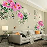 YUMULINN wallpaper stickers Wallpapers murals Chinese style floral wall stickers living room TV background wall stickers bedroom wall stickers room wall stickers 90X120CM