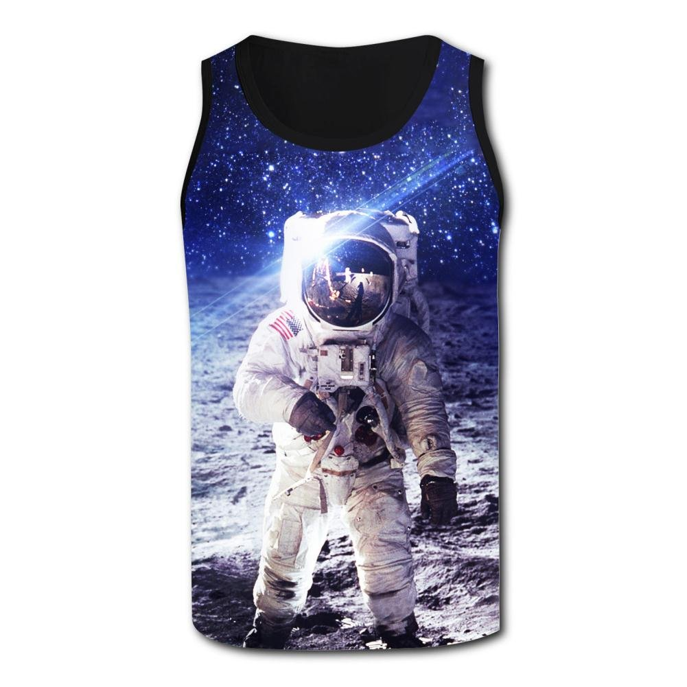 Mens Spaceman on The Moon 3D Print Tank Top Sleeveless