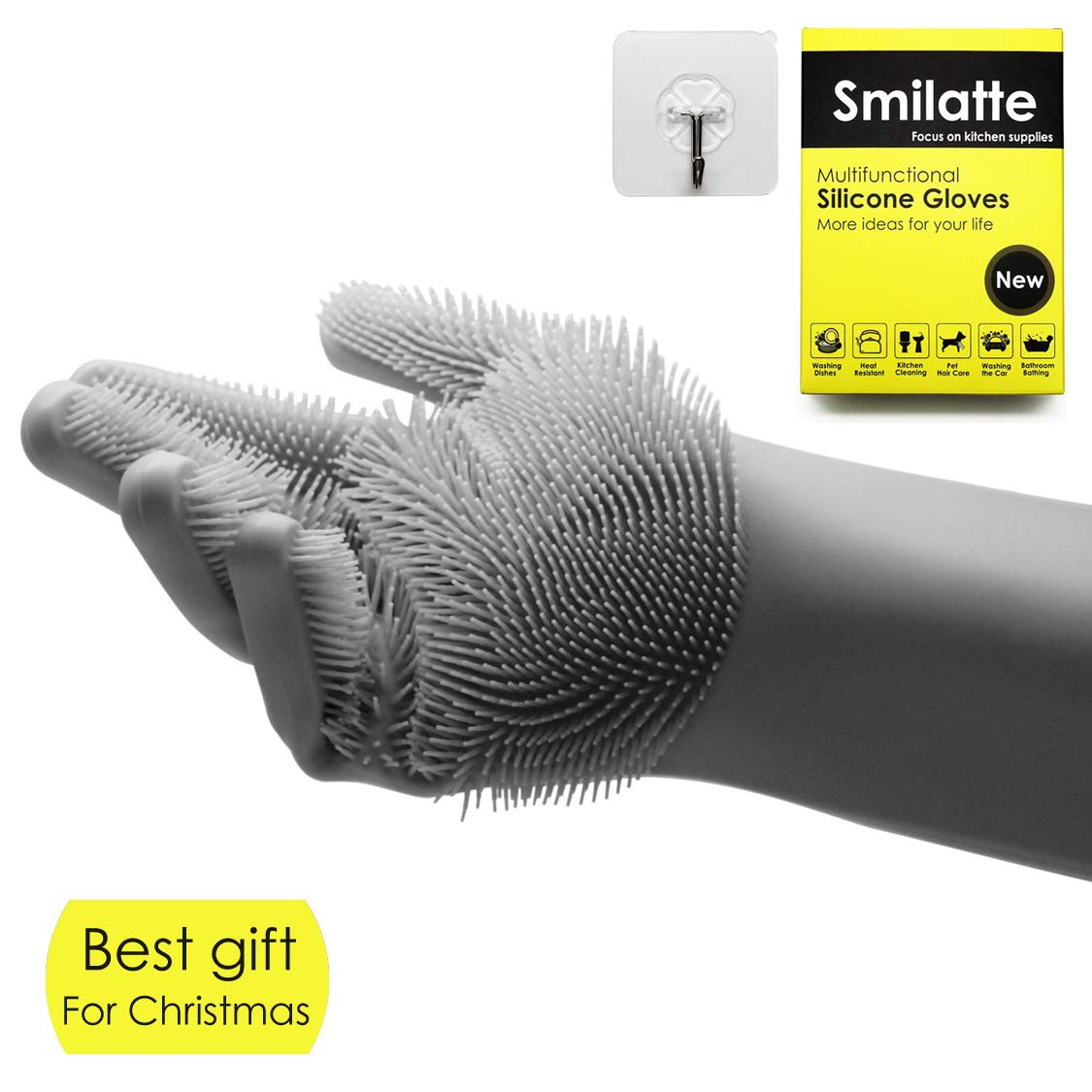 Smilatte Reusable Magic Silicone Gloves with Wash Scrubber, Heat Resistant, for Cleaning, Household, Dishwashing, Washing the Car, Pet Hair Care, (1 Pack Suitable for right hand, A Free Hook), Green