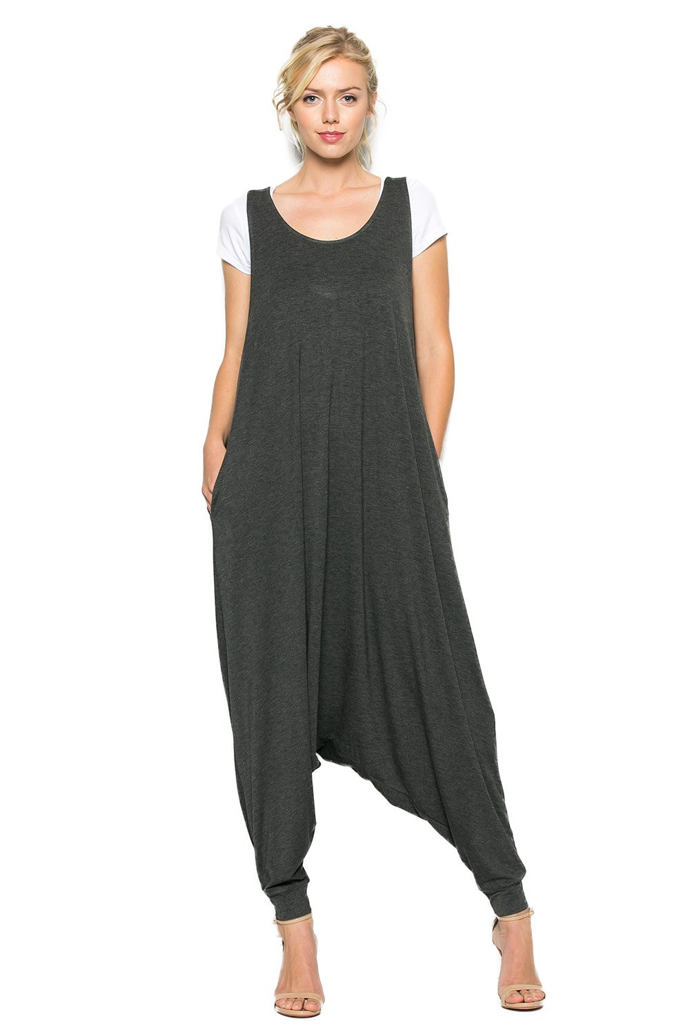 Annabelle Women's Comfy Rayon Solid Color Sleeveless Harem Jumpsuits Charcoal Mid Grey Large J8004
