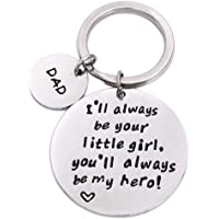 Dad I Will Always Be Your Little Girl Keychain Stamped Keychain Ring Father's Day Gift from Daughter Stamped Keychain Ring…