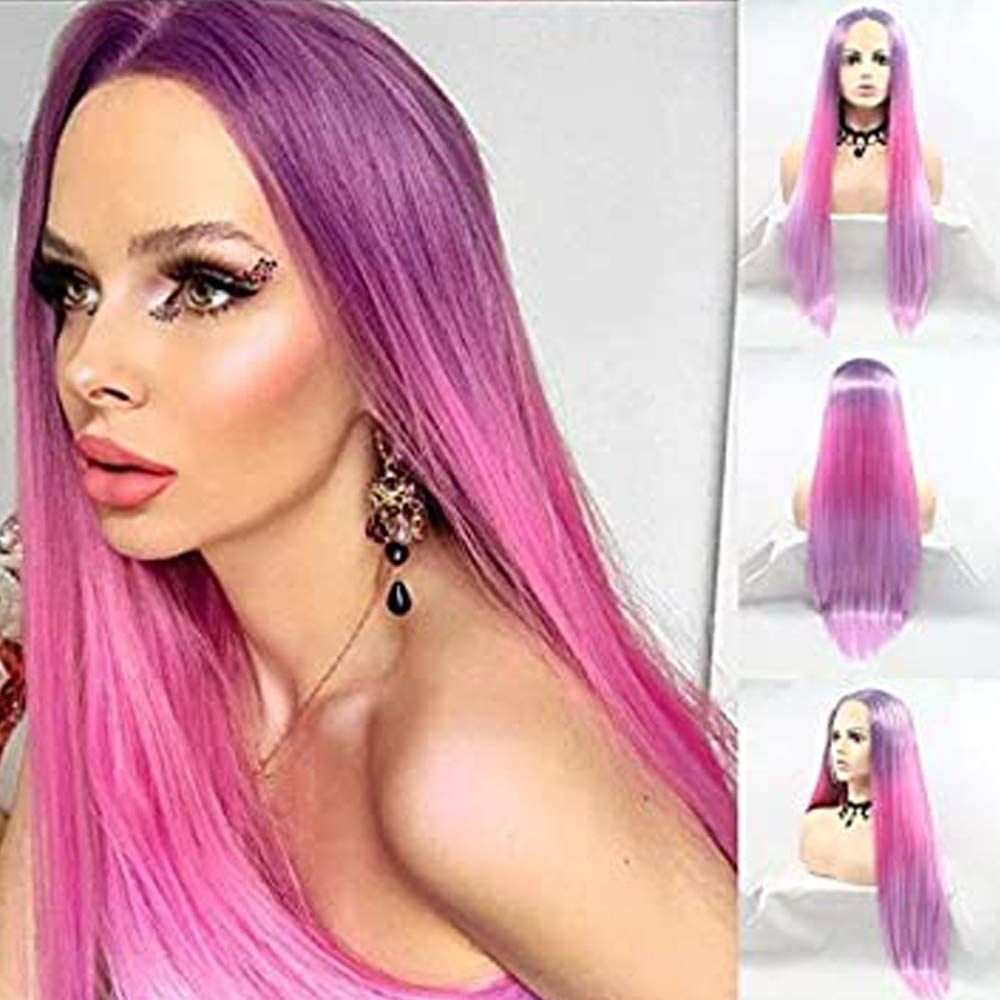 Pink Purple Long Straight Wigs Front Women Gorgeous Lace Sales for Synthet
