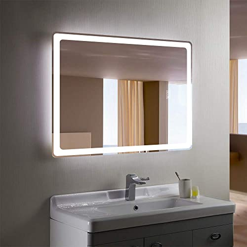 Yetudo LED Bathroom Wall Mounted Mirror 32 x 40 Anti-Fog Horizontal Vertical LED Bathroom Vanity Mirror Large Wall Makeup Mirror with 2-Colour Dimmable Touch Switch