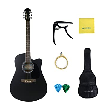 HUA WIND Full Size Acoustic Cutaway Guitar Steel String Dreadnought Complete Starter Kit Matte Black